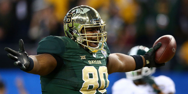 LaQuan McGowan #80 of the Baylor Bears runs for a touchdown against the Michigan State Spartans. Photo / Getty Images.
