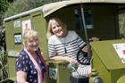 Ilona Rodgers and Cathie Harrop in WWI-era ambulance. Photo/supplied