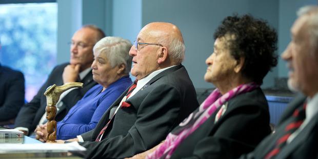 Loading Prominent Maori leaders, from left, Sir Mark Solomon, Dame Tariana Turia ,Sir Tipene O'Regan,Dame Iritana Tawhiwhirangi and Sir Toby Curtis. Photo / Mark Mitchell