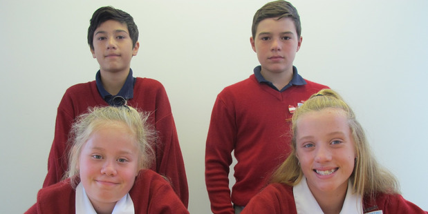 TOP MINDS: St Anne's School team Riki Wainhouse, Zachariah Matenga, Jenna-Jade Lacy, and Natalya Ross will compete in the regional final in Palmerston North tonight.