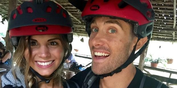 Jill DeConti and her boyfriend Patrick go mountain biking in Chiang Mai. Photo / Supplied