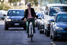 Herald journalist Martin Johnston road-tests an electric bike in Auckland city traffic. Photo / Jason Oxenham