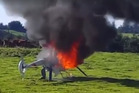 The chopper burns after the pilot escaped. PHOTO/SUPPLIED