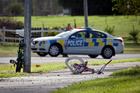 The scene where a 5-year-old girl was knocked off her bike and killed on Matapihi Road. Photo / Andrew Warner