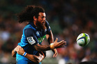 Rene Ranger of the Blues offloads the ball during the round 6 super rugby match between the Blues and the Jaguares. Photo / Getty Images.