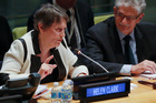 Helen Clark speaks as she address UN General Assembly members about her candidacy for UN Secretary-General. Photo / AP