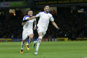 Leicester's Riyad Mahrez celebrates after scoring a goal during the English Premier League. Photo / AP