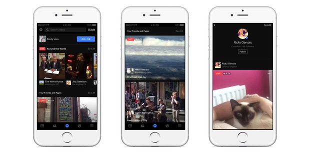 This image provided by Facebook shows examples of its live video feature on the smartphones. Photo / AP
