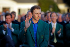 Defending Masters champion Jordan Spieth waves during presentation following the final round of the Masters golf tournament Sunday, April 10, 2016, in Augusta, Ga. (AP Photo/Chris Carlson)