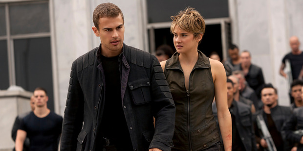 Four (Theo James) and Tris (Shailene Woodley) in a scene from Insurgent.