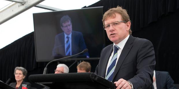 Fonterra Chairman John Wilson during his presentation to their annual meeting in Palmerston North. Photo / Mark Mitchell