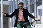 Herald journalist Martin Johnston trials the Winora, an electric bike. Photo / Jason Oxenham.