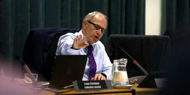 Mayor Len Brown during the Auckland Council Unitary Plan meeting. Photo / Dean Purcell.
