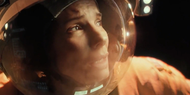 Sandra Bullock stars in the movie, Gravity.