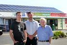 BRIGHT SPARKS: Cape View Four Square owner Michael Perc, Goldpower Solar Hawke's Bay director Sebastian Nilsson and building owner John Bridgeman. PHOTO/DUNCAN BROWN