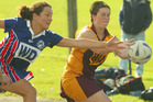 Flashback to 2003, when Horahora were relegated to the reserve grade after losing to Takahiwai. Horahora are now facing promotion to the premier grade again. Picture shows Melody Garder (Takahiwai) and Donna Lennsen (Hora Hora) in action back in 2003. Photo / John Stone