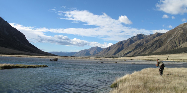 Sight fishing for trout on the upper Ahuriri River, which was named among the world's best. Photo / I. Hadland