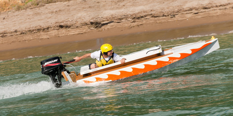 Opua's Mark Williams guns for the finish line in last year's Bay of Islands Bathtub Classic. PHOTO / Ruth Lawton