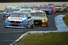 Scott McLaughlin's Volvo leads the field at Phillip Island yesterday. Photo / Getty Images