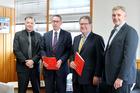 BEGINNING: University of Waikato assistant vice-chancellor David Craig (left), vice-chancellor Professor Neil Quigley, Napier mayor Bill Dalton, and chief executive Wayne Jack. PHOTO/DUNCAN BROWN.