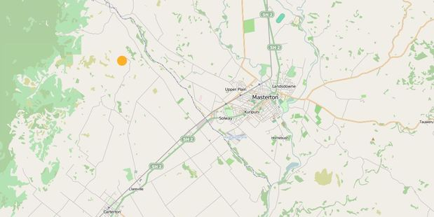 GeoNet map showing the location of this morning's 5.1 quake west of Masterton. Photo / GeoNet