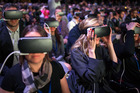 Delegates use Gear VR (virtual reality) headsets, manufactured by Samsung Electronics Co. Photo / Supplied