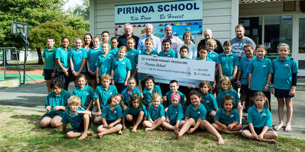 Pirinoa School received $41,500 raised at an impromptu auction late last month after pupils catered and served lunch to 130 members of the Platinum Primary Producers group. PHOTO/SUPPLIED