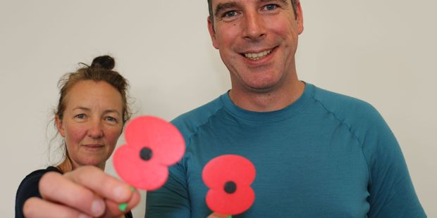 Masterton Fab Lab directors Kirsten Browne and John Hart with their 3D poppies. PHOTOS/HAYLEY GASTMEIER