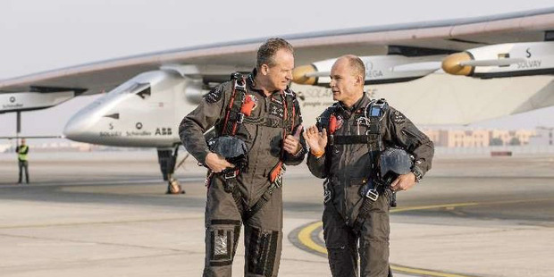 Andre Borschberg, left, and Bertrand Piccard take turns piloting the solar-powered craft. Photo / The Washington Post, Niels Ackerman