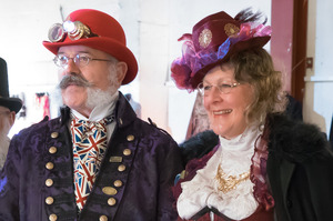 The judges for this year's Steampunk fashion show, known as Colonel Sir Julius Hawthorne and Mrs Hudson (the younger). Photo / Supplied
