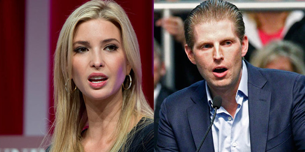 Ivanka Trump and Eric Trump, who are not affiliated with a political party, did not register as Republicans in time to participate in the upcoming primary. Photos / AP