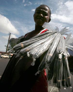 A 2006 photo shows vendors selling vanilla sticks in Antananarivo, Madagascar. Photo / Bloomberg