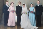 A photo of the original wedding party of Trevor's brother Lyle (left), Trevor's sister Fay, Trevor, Betty, Betty's sister Joan, and best man Colin, taken on April 7, 1956 at Bachelor's Studio in Emmerson St, Napier.