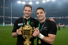 Richie McCaw and Dan Carter with the World Cup. Photo / Brett Phibbs