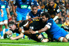 Brodie Retallick of the Chiefs scores the winning try. Photo / Getty