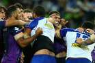 Players clash during the round six NRL match between the Melbourne Storm and the Canterbury Bulldogs. Photo / Getty