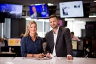 Focus executive producer Belinda Henley and presenter Tristram Clayton review plans for the launch of the new show in the NZME newsroom. Photo / Dean Purcell