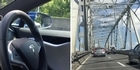 Watch: Watch: Electric car drives itself over Auckland Harbour Bridge