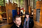 Artist Kereama Taepa and Redwoods Visitor Centre manager Julianne Wilkinson at the opening of the toilets in the Redwood Forest in 2013.