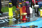 A jar of gherkins sit on the sideline during the Sea Eagles defeat to the Eels.