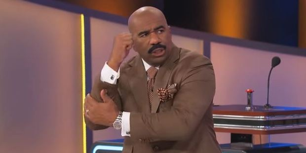 Family Feud host and comedian Steve Harvey with his version of the haka. Picture / YouTube/Family Feud