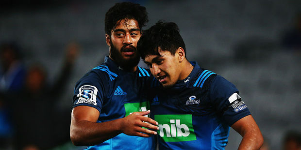 The Ioane brothers celebrate Reiko scoring the match-winning try. Photo / Getty