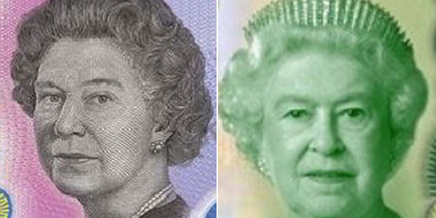 The Queen features on the new Australian and New Zealand banknotes. Her image on the Australian note, left, has come under fire.