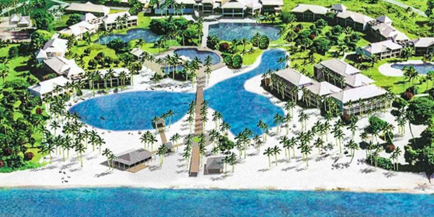 The current owner has already completed plans for a luxury resort featuring stylish hotel rooms; over water bures and a lush tropical garden. Photo / Supplied