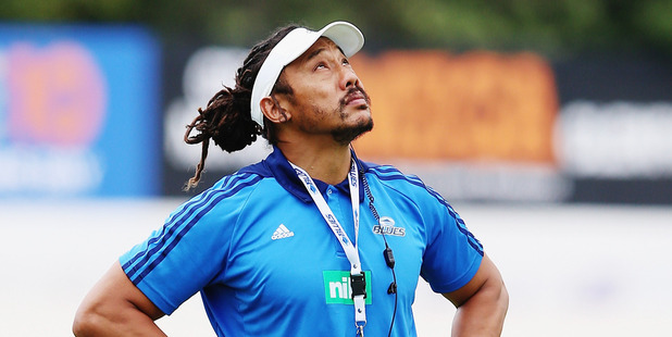 Head coach Tana Umaga of the Blues looks on during a training session. Photo / Getty
