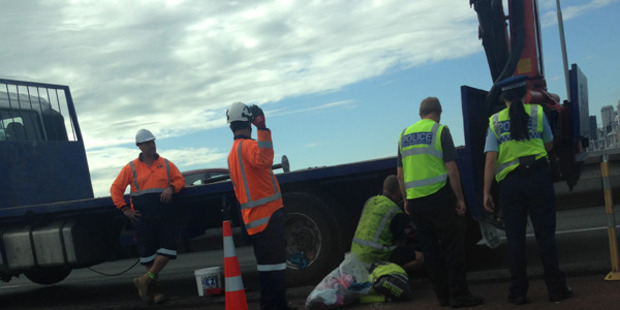 Loading A truck broke down on the centre northbound land on the Harbour Bridge. Photo / Supplied