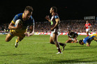 Clinton Gutherson of the Eels scores a try that was disallowed. Photo / Getty