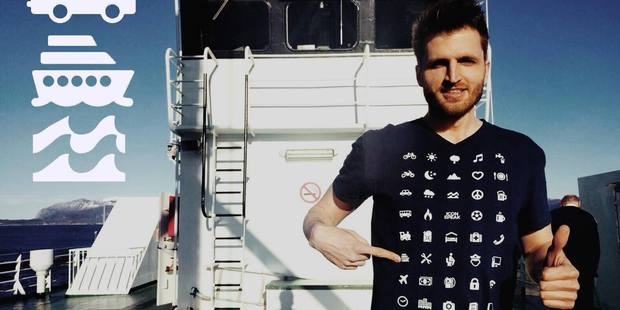 The t-shirt is printed with 40 useful symbols. Photo / Iconspeak