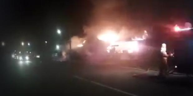Emergency service personnel attend a blaze at Abel Glass in Moteueka. Photo / Supplied