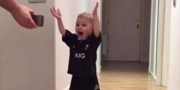 Loading This 18-month-old child from Spain loves the All Blacks, and especially loves the Haka. Photo / Supplied